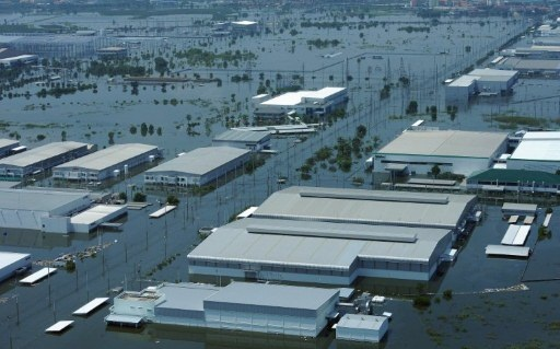 flooded industrial estate outside the ancient Thai capital of Ayutthaya,