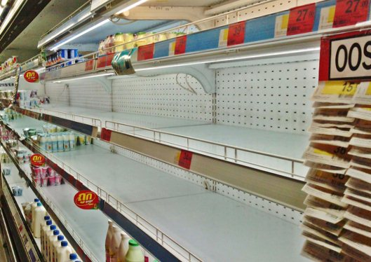 Empty shelves in a Bangkok Shopping mall in November