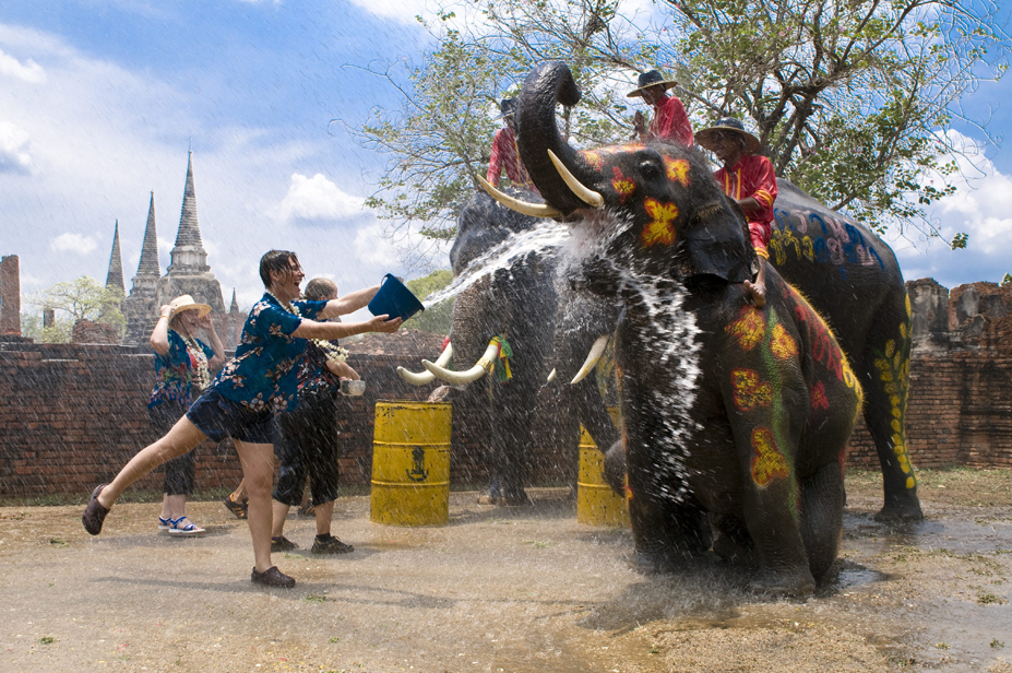 Songkran Festival at Phra Si Sanphet Temple in Ayutthaya Historical Park