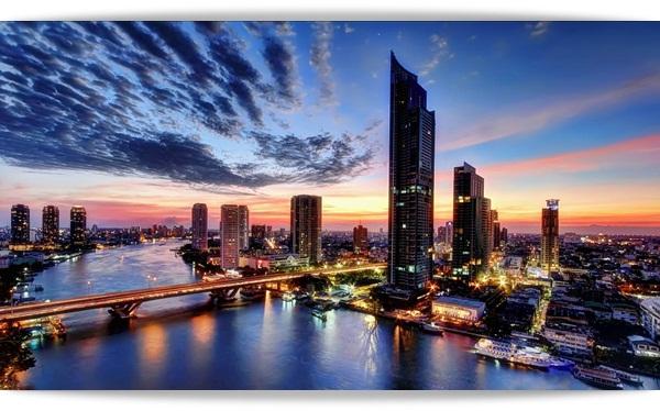 bangkok skyline sunset