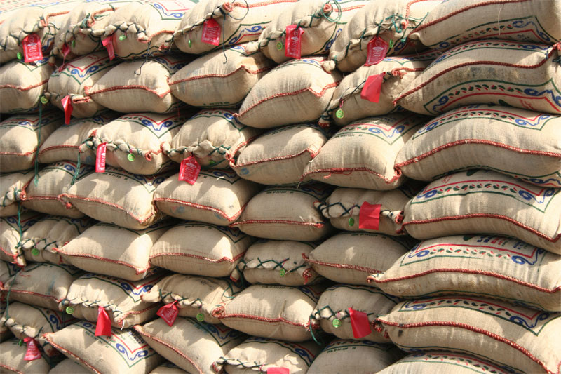 Rice bags piled