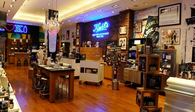 Example: A Kiehl's Store with their trademark industrial lab style visual merchandising