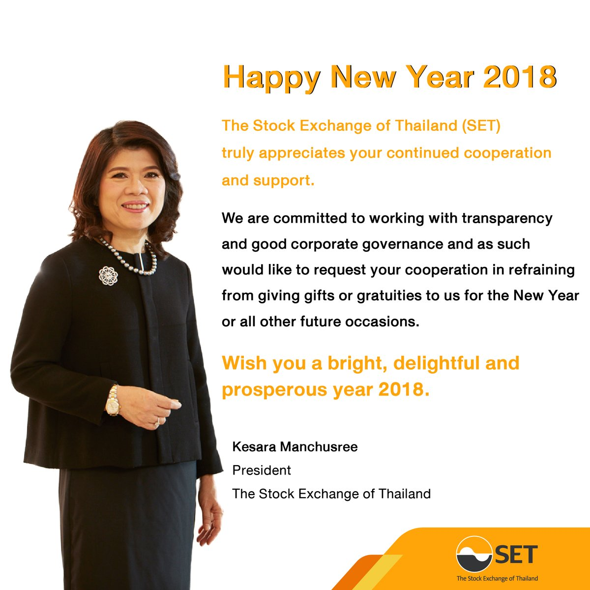 Happy New Year 2018   SET truly appreciates your continued cooperation and suppo…