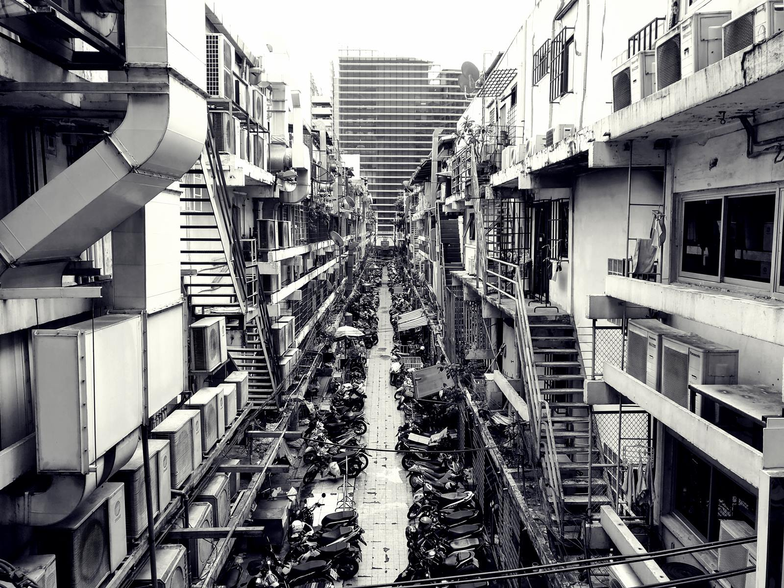 Crowded downtown area in Bangkok