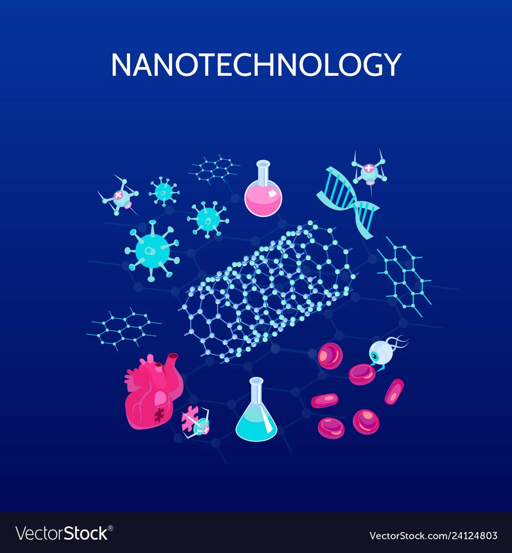 Nanotechnology Isometric Color Background